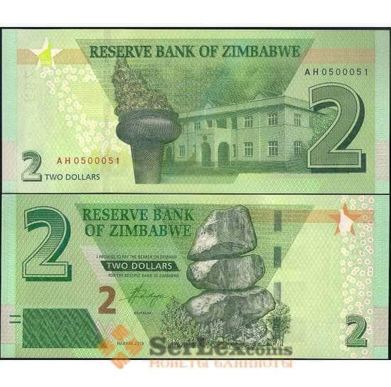 Зимбабве 2 доллара 2019 Р101а UNC арт. 22646