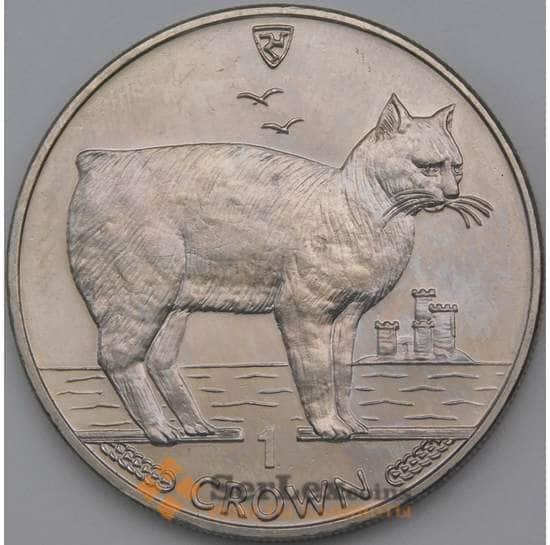 Мэн остров 1 крона 1988 КМ245 Безхвостая кошка арт. 27029