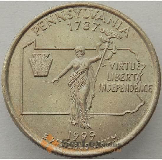 США 25 центов 1999 P КМ295 aUNC Пенсильвания арт. 15427