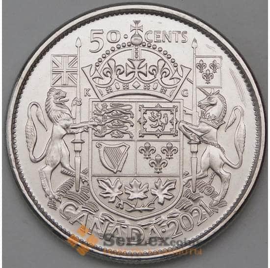 Канада 50 центов 2021 UNC 100 лет Герб Канады арт. 30080