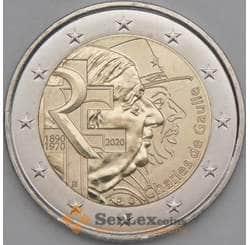 Франция 2 евро 2020 UNC Шарль де Голль арт. 21758
