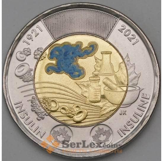 Канада 2 доллара 2021 UNC Открытие Инсулина цветная арт. 30079