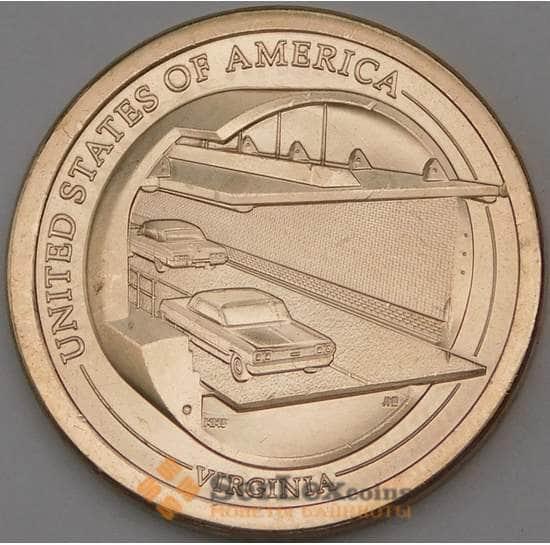 США 1 доллар 2021 UNC D Инновации №11 Мост-тоннель через Чесапикский залив арт. 29942