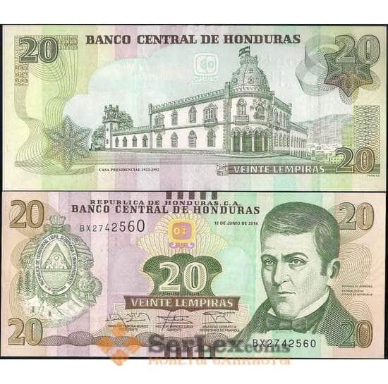 Гондурас 20 лемпир 2014 Р92 UNC  арт. 22003