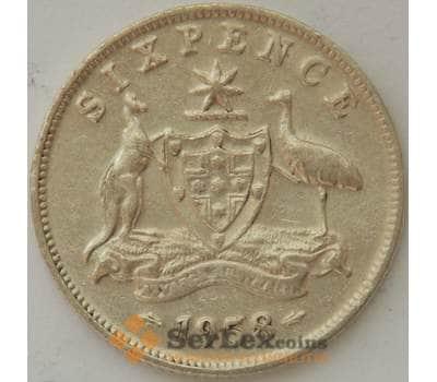 Австралия 6 пенсов 1958 КМ58 VF Серебро Елизавета II (J05.19) арт. 17290