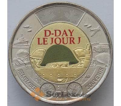 Канада 2 доллара 2019 D-Day Высадка в Нормандии 1944 UNC цветная арт. 16752