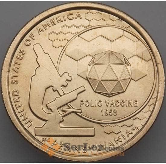 США 1 доллар 2019 UNC Р Инновации №3 Вакцина против полиомиелита  арт. 18661