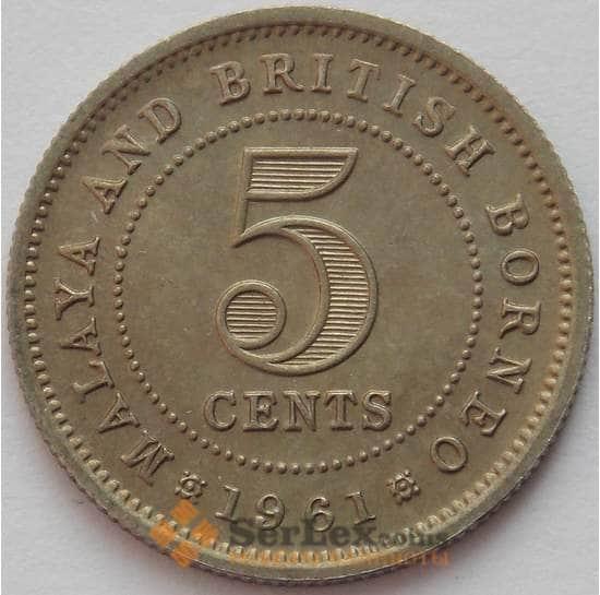 Малайя и Британское Борнео 5 центов 1961 КМ1 UNC (J05.19) арт. 16680