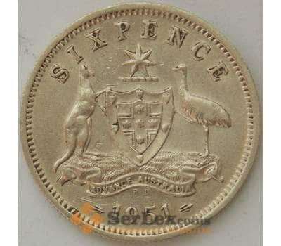 Австралия 6 пенсов 1951 PL КМ45 XF Серебро Георг VI (J05.19) арт. 17289