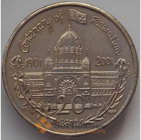 Австралия 20 центов 2001 КМ556 UNC 100 лет Федерации Виктория (J05.19) арт. 17150