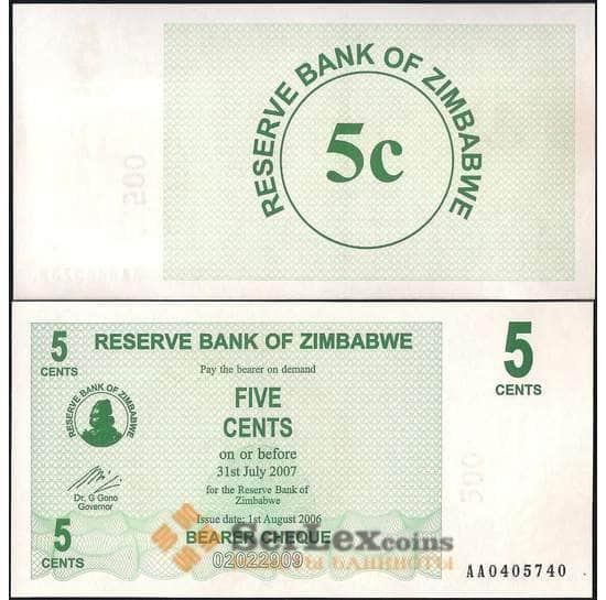 Зимбабве 5 центов 2006 Р34 UNC арт. 22099