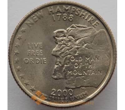 США 25 центов 2000 P КМ308 UNC Нью Гемпшир (J05.19) арт. 16727