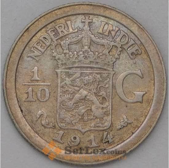 Нидерландская Восточная Индия 1/10 гульдена 1914 КМ311 XF  арт. 22744