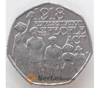 Великобритания 50 пенсов 2018 UNC Закон о народе 100 лет арт. 12954