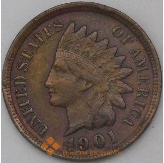 США 1 цент 1901 КМ90а XF арт. 26142