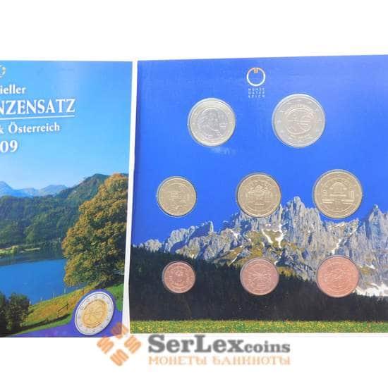 Австрия Официальный набор Евро 1 цент - 1 евро 2009 (7 шт)+ 2 евро 10 лет Валюте BU арт. 28567