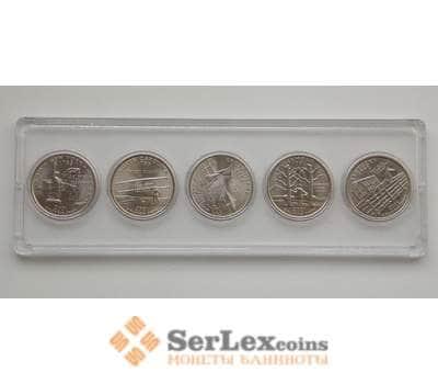 США набор монет 25 центов 2001 Штаты и территории 5 монет UNC арт. 8487