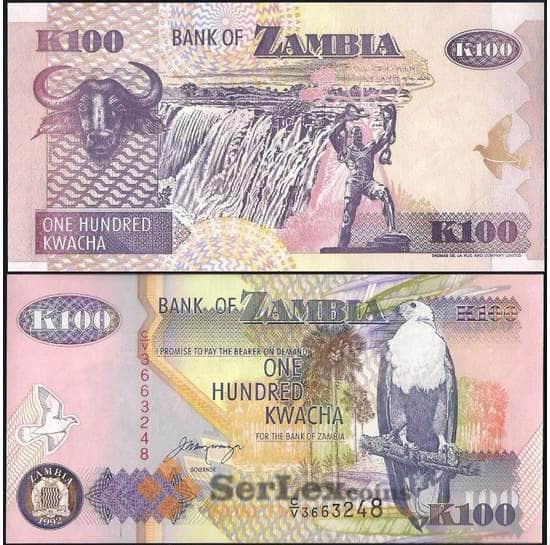 Замбия 100 квача 1992 Р38 UNC  арт. 21824